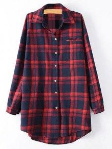 Plus Size Tartan Checkered Shirt - Red 2xl