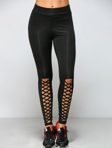 Buy Tight Fit Cutout Crisscross Leggings L BLACK