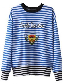 Buy Striped Patched Pullover Sweatshirt - BLUE/WHITE S