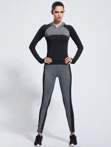 Color Block Skinny Yoga Hoodie + Pants - Black M