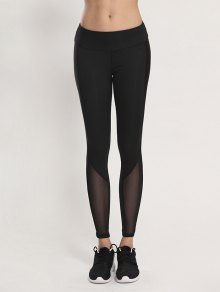 Bodycon Yoga Voile Leggings - Black