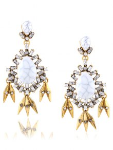 Rhinestone Leaf Water Drop Layered Earrings - Golden