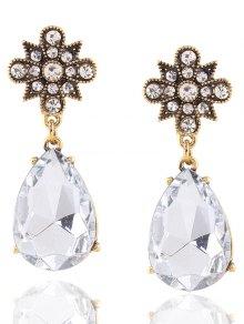 Buy Vintage Rhinestone Water Drop Flower Earrings - GOLDEN