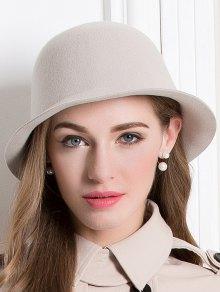 Wool Crown Bowler Hat - Apricot
