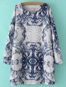 Linen Blend Chinese Painting Dress