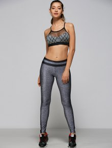 Mesh Panel Strappy Sports Bra - Gray