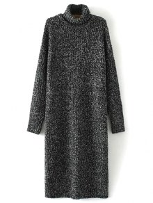 Turtle Neck Tweed Long Sweater Dress