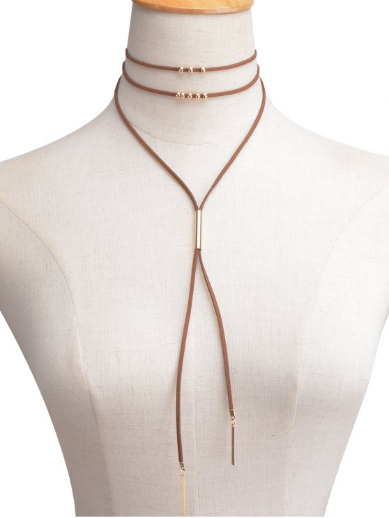 chic Faux Leather Velvet Bar Beaded Layered Choker - BROWN
