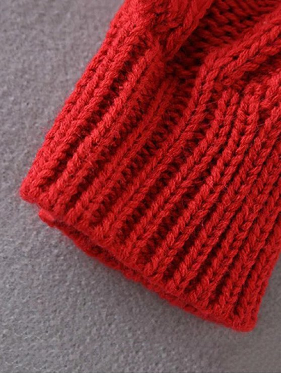 Cut Out Cable Knit Sweater - RED ONE SIZE Mobile