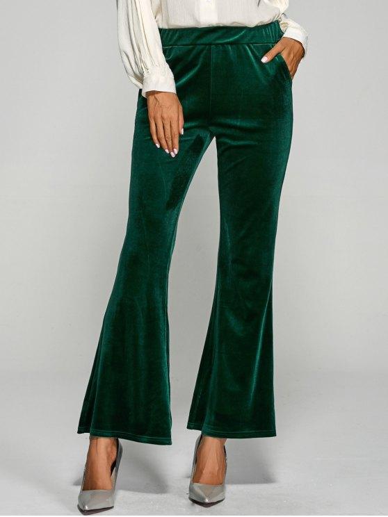 unique Pockets Velvet Boot Cut Pants - GREEN L
