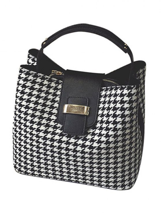 Houndstooth Metal Colour Block Tote Bag - BLACK  Mobile