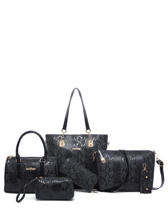 Bolsa de Metales de hombro de cuero de la PU en relieve - Negro