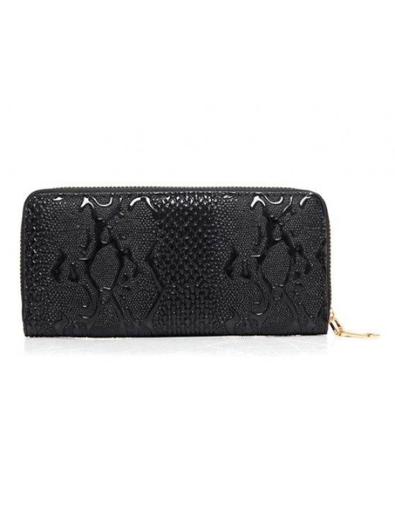 Embossed PU Leather Metals Shoulder Bag - BLACK  Mobile