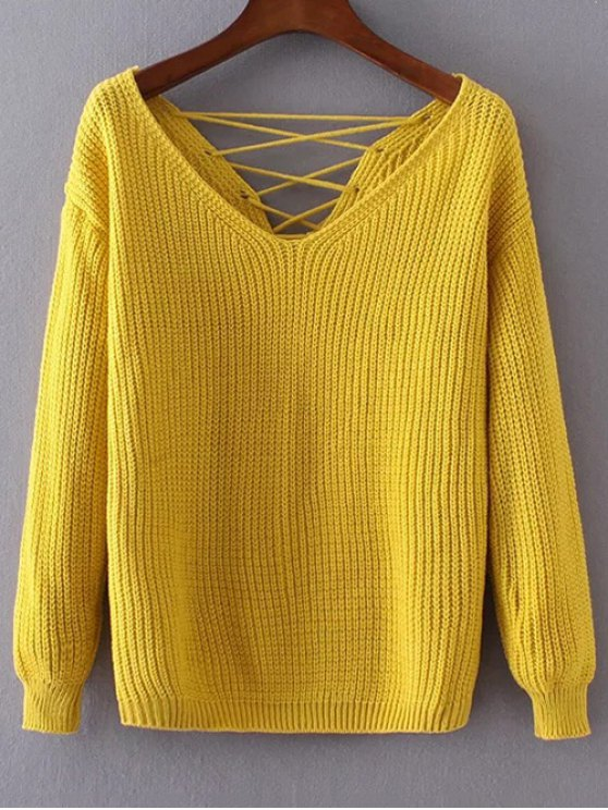 womens Double-V Lace-Up Sweater - YELLOW ONE SIZE