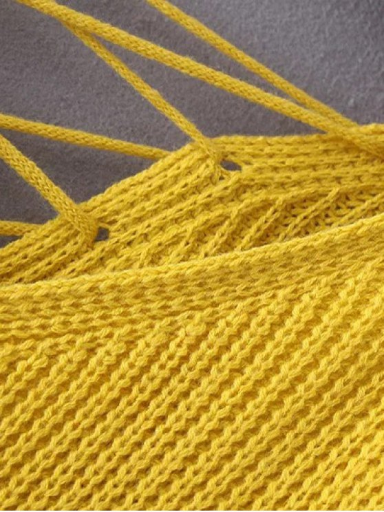 Double-V Lace-Up Sweater - YELLOW ONE SIZE Mobile
