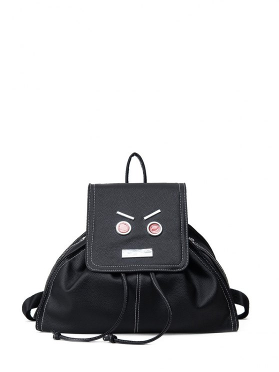 women's Drawstring Metals Textured Leather Backpack - BLACK