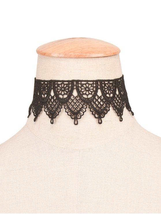shop Vintage Faux Lace Floral Choker - BLACK