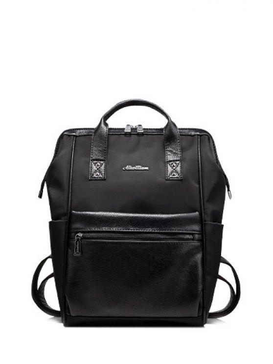 ladies Zippers Metal Splicing Backpack - BLACK