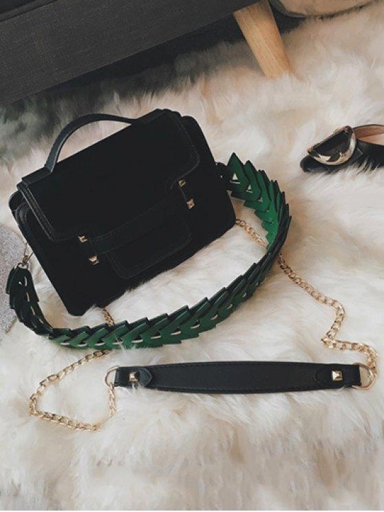 PU Leather Spliced Suede Rivet Handbag - BLACK  Mobile
