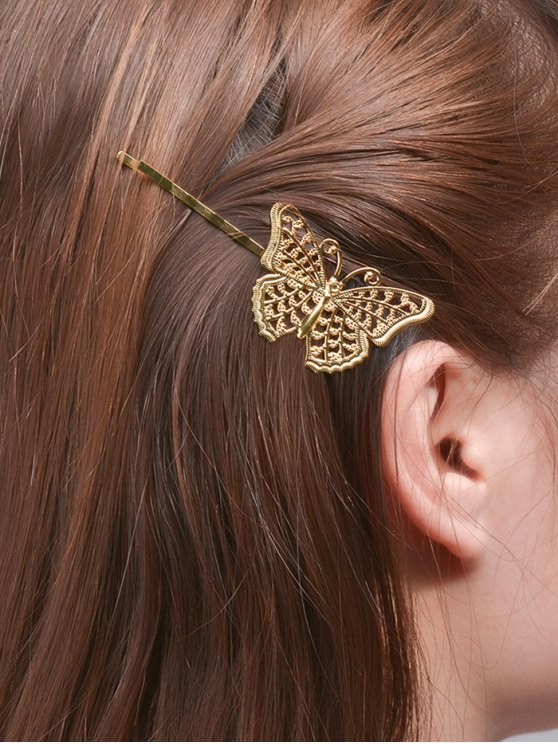 womens Butterfly Alloy Hair Accessory - GOLDEN