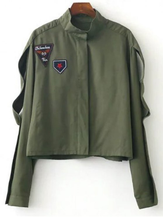 unique Patched Funnel Neck Jacket - ARMY GREEN S