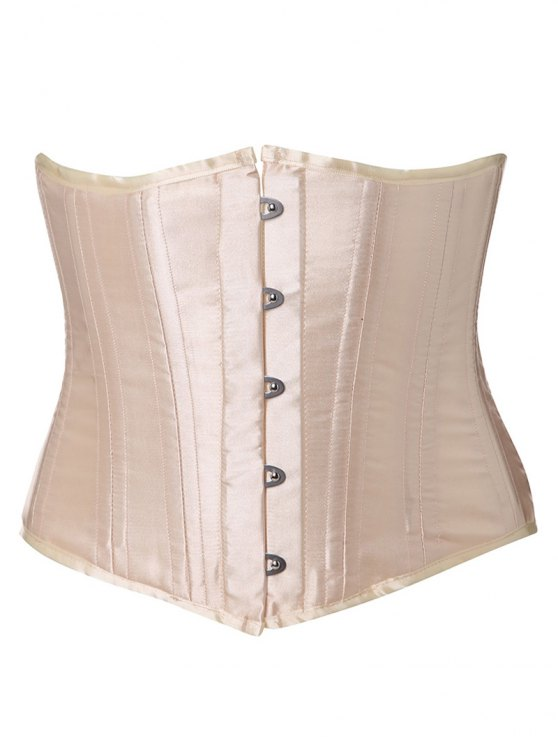 Shiny Lace Up Buckle Corset - APRICOT L Mobile