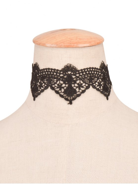 affordable Artificial Lace Flower Choker - BLACK