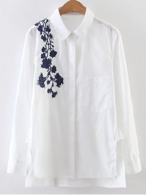 trendy Embroidered Shoulder Poplin Shirt - WHITE S