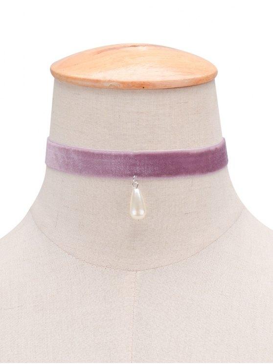 Terciopelo de imitación de la perla de la gota del agua Gargantilla - Púrpura