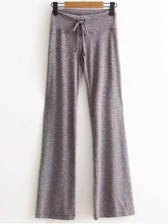 Active  Drawstring High Waisted Heather Pants - LIGHT GRAY S Mobile