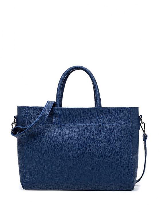 Bolso de cuero de costura con textura PU - Azul