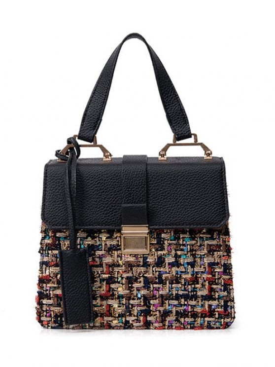 Metal PU Leather Spliced Tweed Handbag - COLORMIX  Mobile