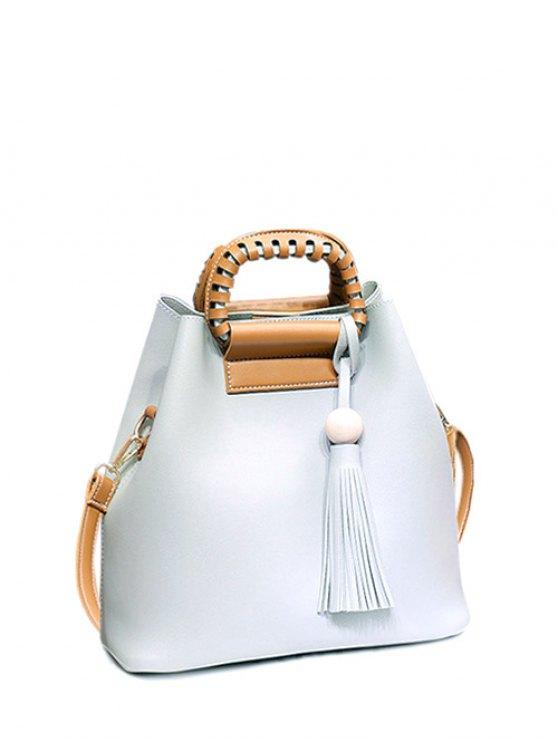 womens Tassel Wood Ball PU Leather Handbag - LIGHT GRAY