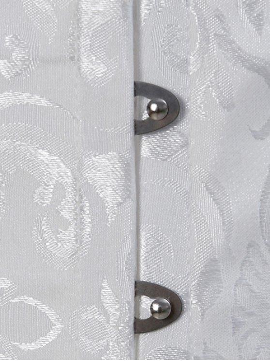 Paisley Shapewear Lace Up Corset Vest - WHITE 5XL Mobile