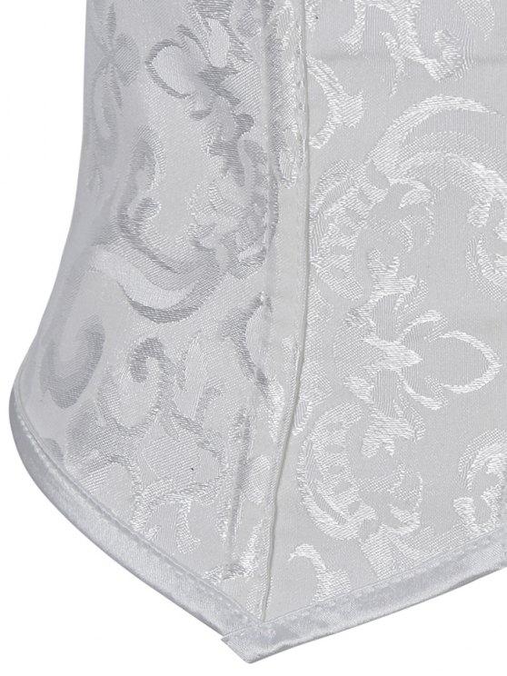 Paisley Shapewear Lace Up Corset Vest - WHITE 3XL Mobile