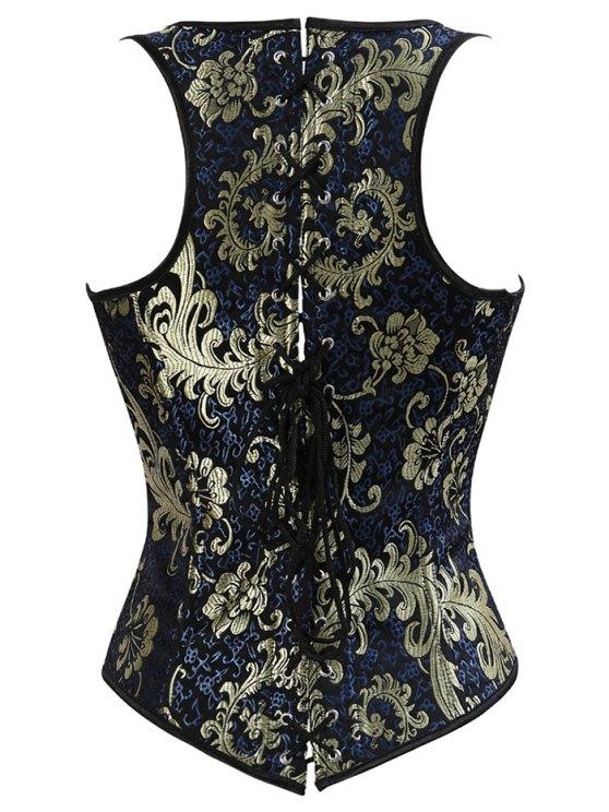 Vintage Jacquard Lace Up  Corset Vest - DEEP BLUE 3XL Mobile