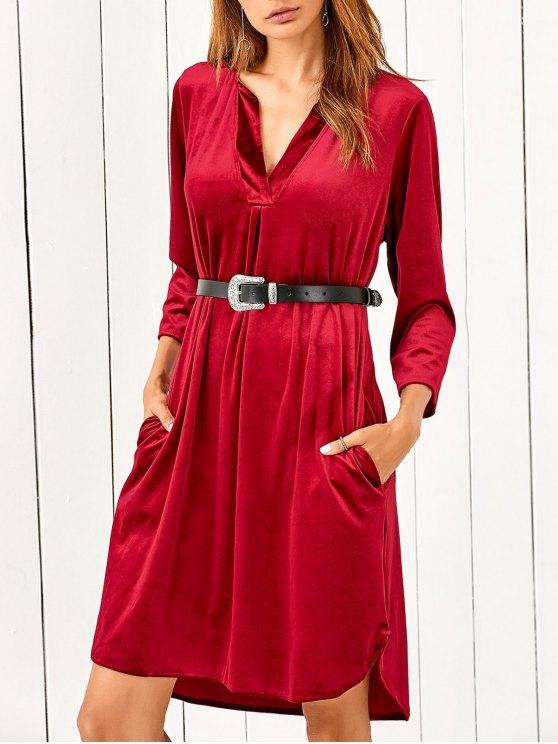 V Neck Pockets Midi Velvet Dress - RED L Mobile
