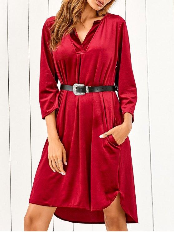 V Neck Pockets Midi Velvet Dress - RED S Mobile