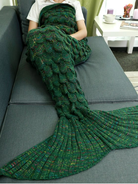 Fish Scale Knit Mermaid Throw Blanket - GREEN  Mobile