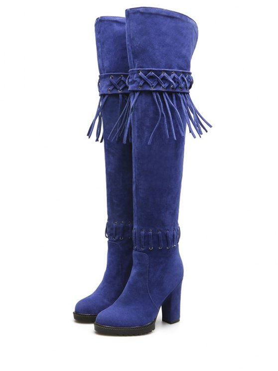 Fringe Criss-Cross Chunky Heel Thigh Boots - BLUE 38 Mobile