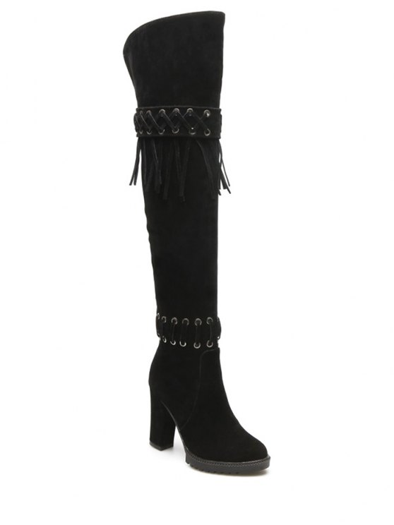Fringe Criss-Cross Chunky Heel Thigh Boots - BLACK 38 Mobile
