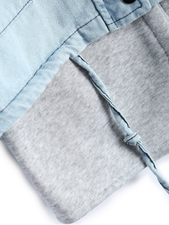 Hooded Waistcoat With Jean Jacket - LIGHT BLUE XL Mobile