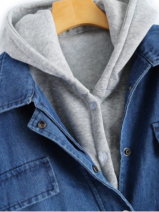 Hooded Waistcoat With Jean Jacket - DEEP BLUE S Mobile