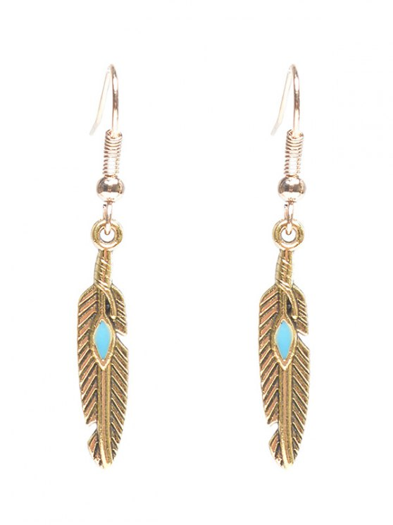 online Feather Beaded Resin Earrings - GOLDEN