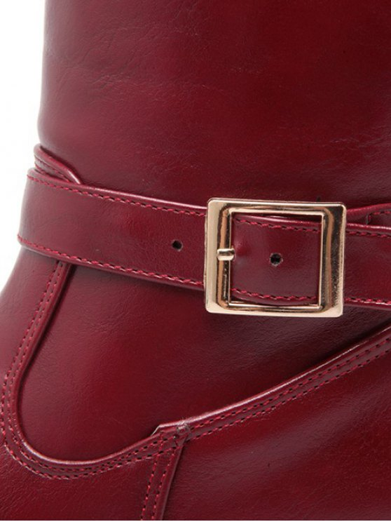 Buckle Chunky Heel Zipper Knee-High Boots - WINE RED 38 Mobile