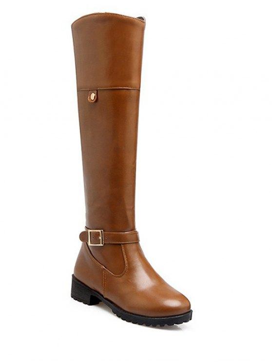 Buckle Chunky Heel Zipper Knee-High Boots - LIGHT BROWN 37 Mobile