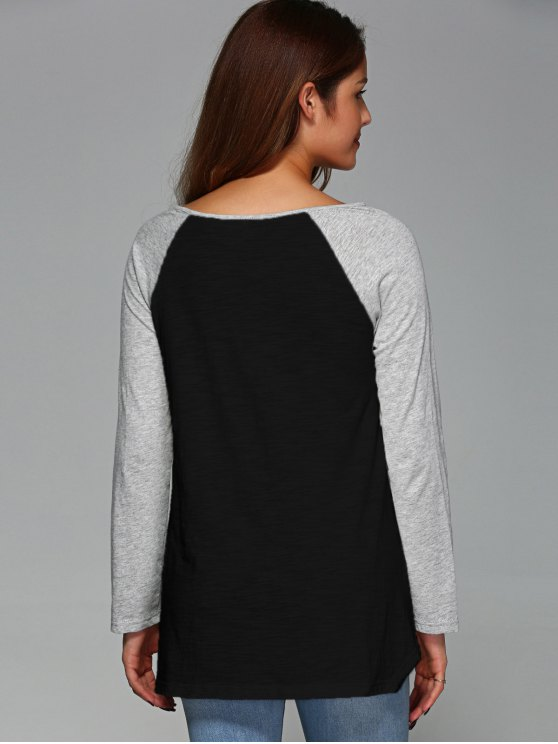 Raglan Sleeve Asymmetrical Tee - BLACK M Mobile