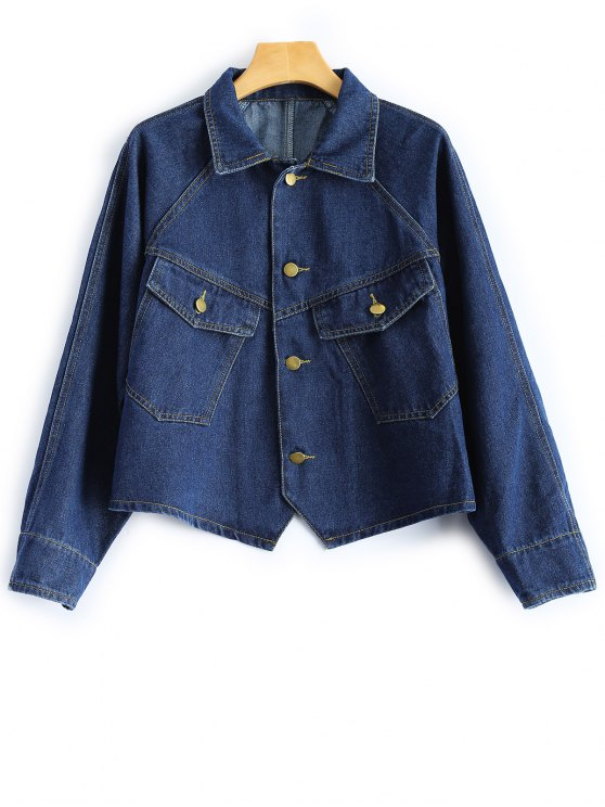 chic Button Up Cropped Denim Jacket - DEEP BLUE L