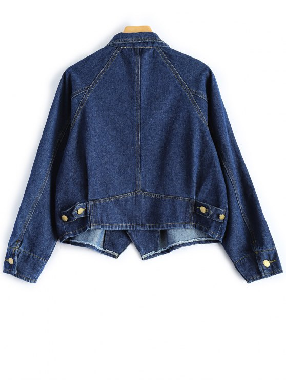 Button Up Cropped Denim Jacket - DEEP BLUE L Mobile