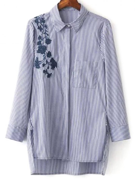 fashion High Low Striped Embroidered Shirt - BLUE AND WHITE S